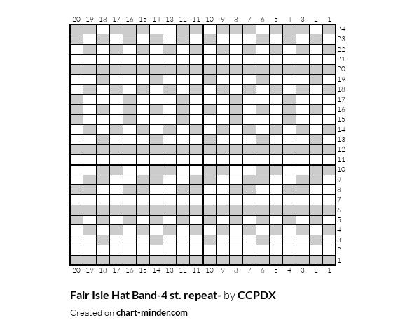 Fair Isle Hat Band-4 st. repeat-
