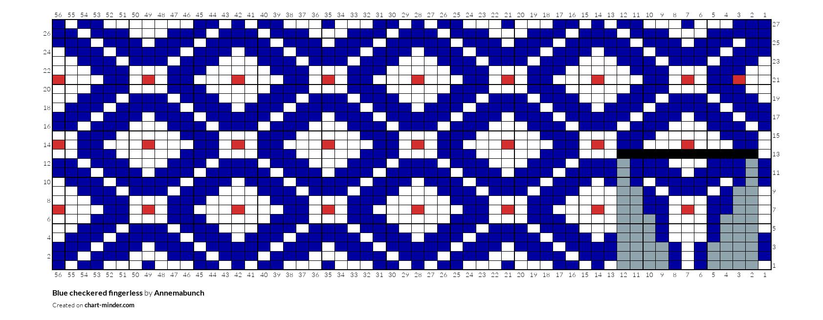 Blue checkered fingerless